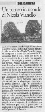 articolo del gazzettino 31 maggio 2010
